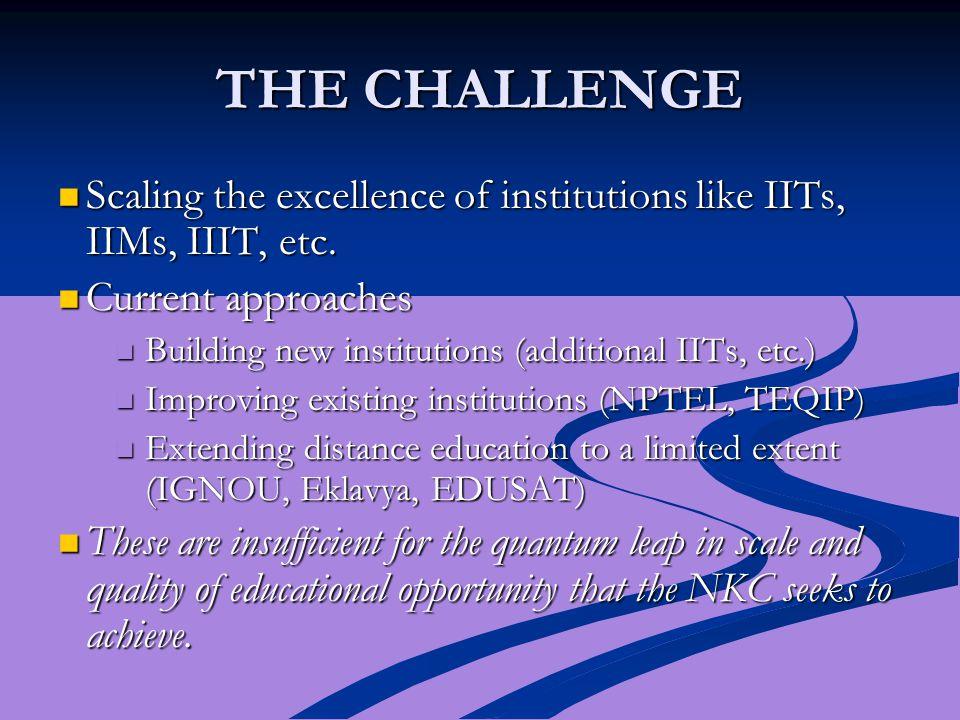 THE CHALLENGE Scaling the excellence of institutions like IITs, IIMs, IIIT, etc.