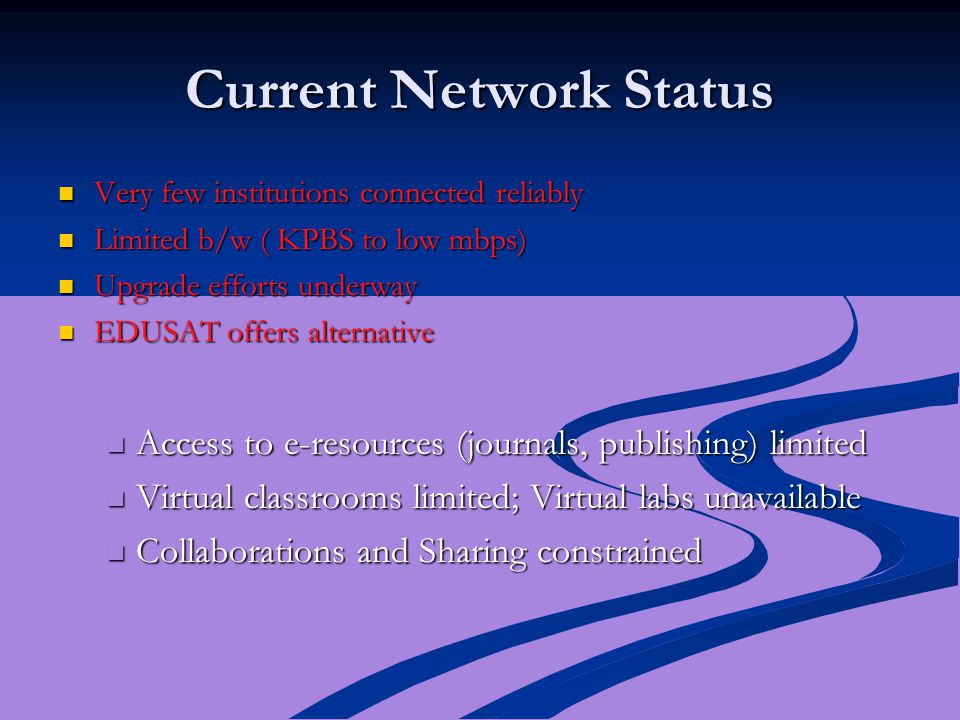 Current Network Status Very few institutions connected reliably Very few institutions connected reliably Limited b/w ( KPBS to low mbps) Limited b/w (