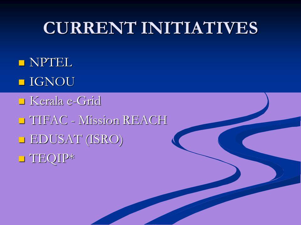 CURRENT INITIATIVES NPTEL NPTEL IGNOU IGNOU Kerala e-Grid Kerala e-Grid TIFAC - Mission REACH TIFAC - Mission REACH EDUSAT (ISRO) EDUSAT (ISRO) TEQIP* TEQIP*