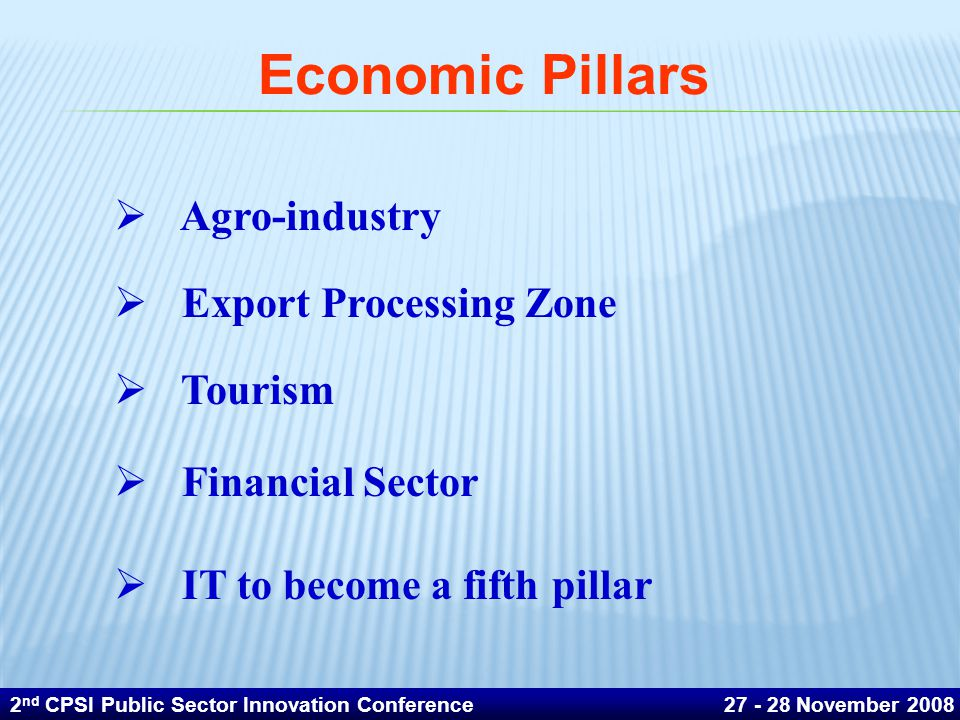  Agro-industry  Export Processing Zone  Tourism  Financial Sector  IT to become a fifth pillar Economic Pillars 2 nd CPSI Public Sector Innovation Conference 27 - 28 November 2008