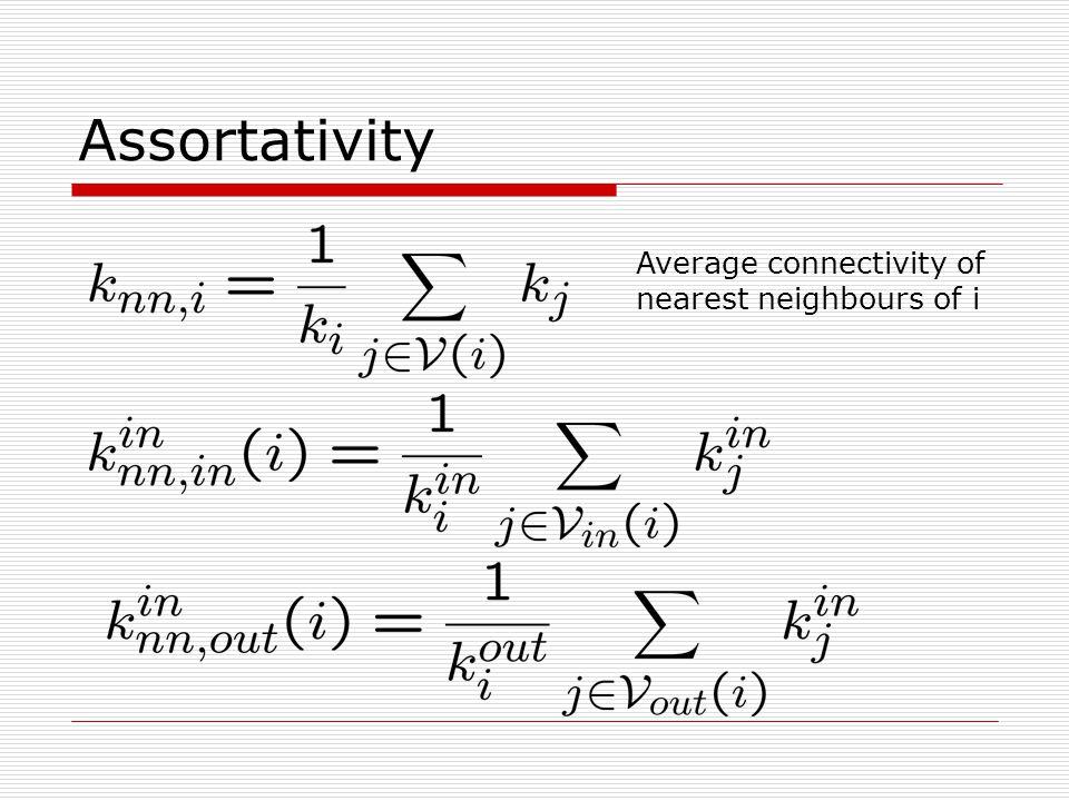 Assortativity Average connectivity of nearest neighbours of i
