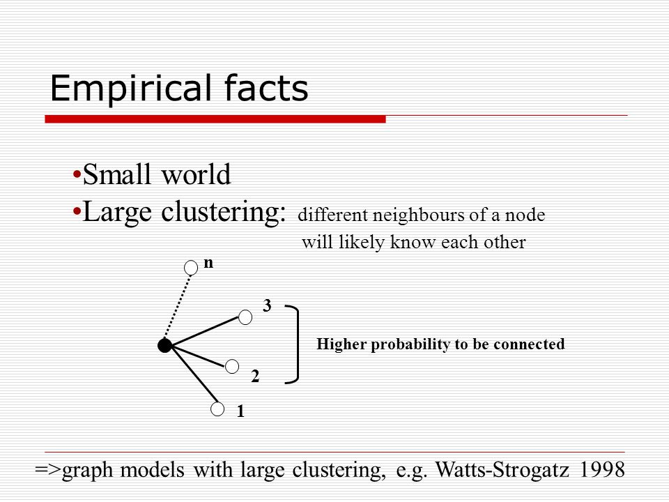 Small world Large clustering: different neighbours of a node will likely know each other 1 2 3 n Higher probability to be connected =>graph models wit