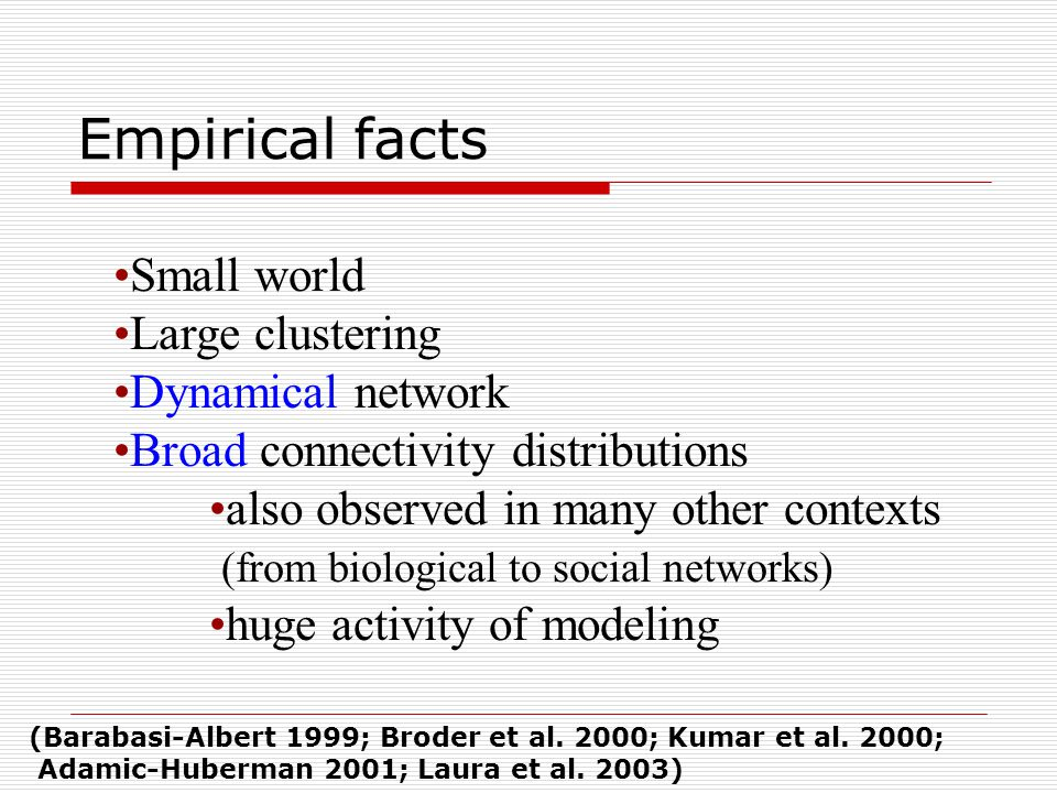 Small world Large clustering Dynamical network Broad connectivity distributions also observed in many other contexts (from biological to social networ