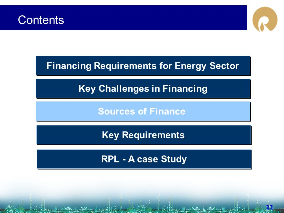 www.ril.com 11 Contents Sources of Finance Key Challenges in Financing Financing Requirements for Energy Sector Key Requirements RPL - A case Study