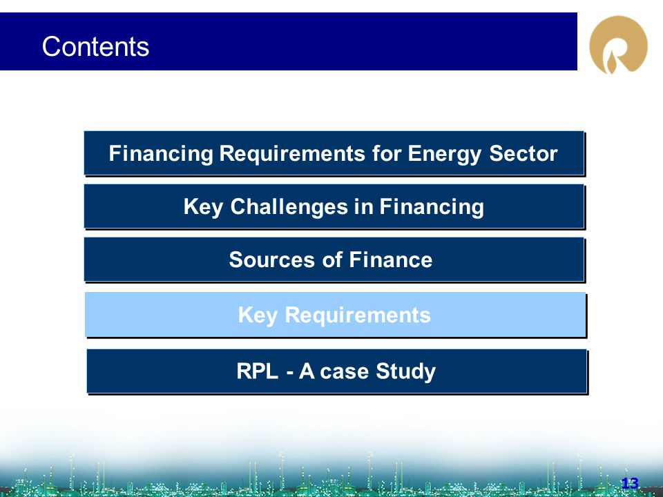 www.ril.com 13 Contents Sources of Finance Key Challenges in Financing Financing Requirements for Energy Sector Key Requirements RPL - A case Study