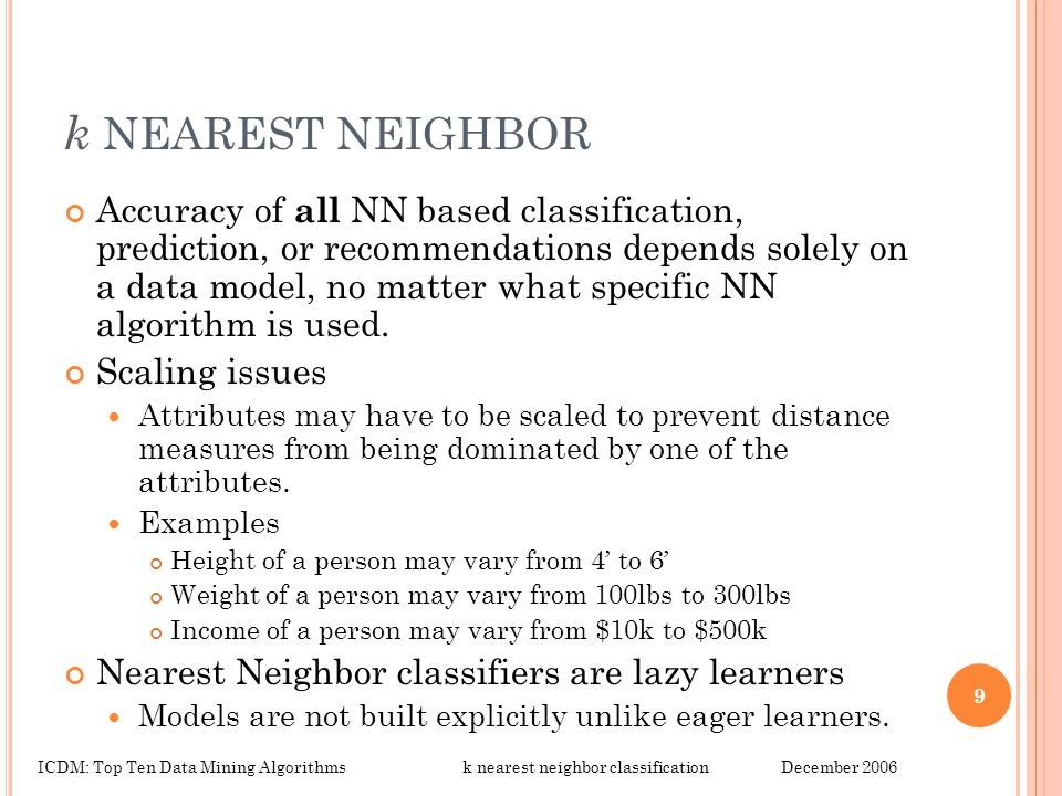 k NEAREST NEIGHBOR Accuracy of all NN based classification, prediction, or recommendations depends solely on a data model, no matter what specific NN