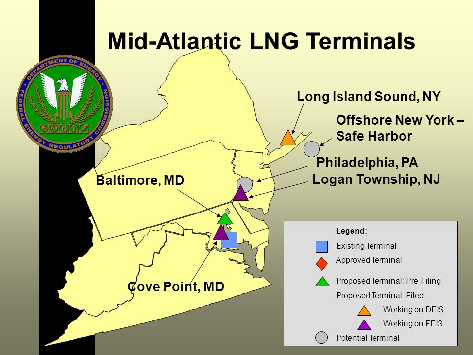 Cove Point, MD Logan Township, NJ Mid-Atlantic LNG Terminals Long Island Sound, NY Philadelphia, PA Baltimore, MD Offshore New York – Safe Harbor Legend: Existing Terminal Approved Terminal Proposed Terminal: Pre-Filing Proposed Terminal: Filed Working on DEIS Working on FEIS Potential Terminal