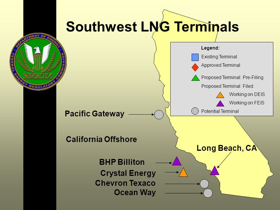 Long Beach, CA California Offshore Southwest LNG Terminals Chevron Texaco BHP Billiton Crystal Energy Legend: Existing Terminal Approved Terminal Proposed Terminal: Pre-Filing Proposed Terminal: Filed Working on DEIS Working on FEIS Potential Terminal Ocean Way Pacific Gateway