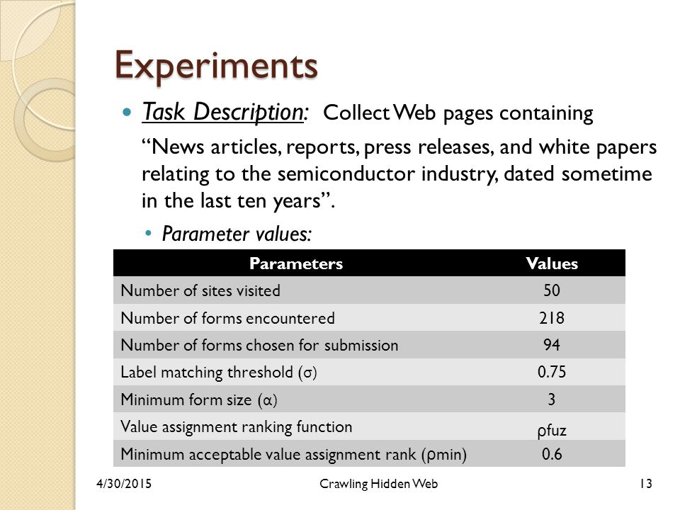 Experiments Task Description: Collect Web pages containing News articles, reports, press releases, and white papers relating to the semiconductor industry, dated sometime in the last ten years .