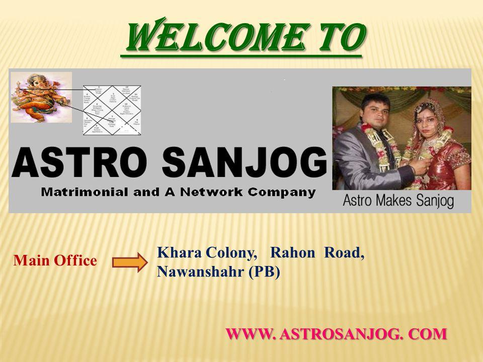 WELCOME TO Main Office Khara Colony, Rahon Road, Nawanshahr (PB) WWW. ASTROSANJOG. COM