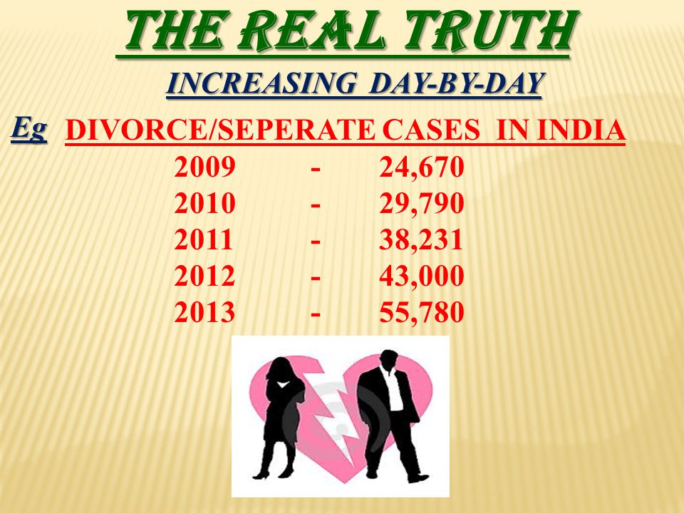 THE REAL TRUTH DIVORCE/SEPERATE CASES IN INDIA 2009-24,670 2010-29,790 2011-38,231 2012-43,000 2013-55,780 INCREASING DAY-BY-DAY Eg