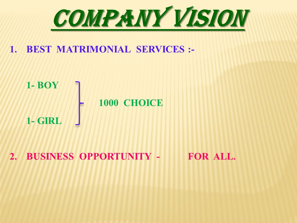 COMPANY VISION 1.BEST MATRIMONIAL SERVICES :- 1- BOY 1000 CHOICE 1- GIRL 2.BUSINESS OPPORTUNITY -FOR ALL.