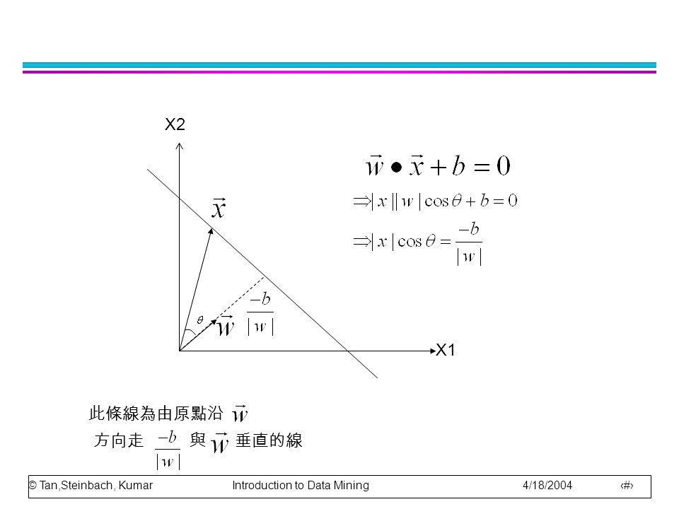 © Tan,Steinbach, Kumar Introduction to Data Mining 4/18/2004 7 X1 X2 此條線為由原點沿 方向走 與 垂直的線