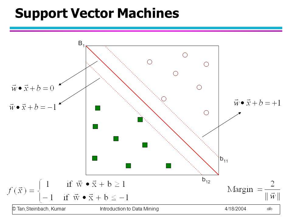 © Tan,Steinbach, Kumar Introduction to Data Mining 4/18/2004 9 w d x1 x2 x1-x2 wx+b = -1 wx+b=1 WX +b =0 wx+b=0 0 此線在沿法向量走 -b/|w| 的距離,與法向量垂直