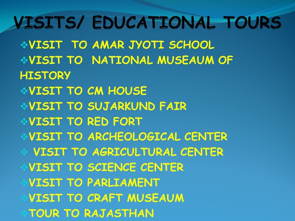  VISIT TO AMAR JYOTI SCHOOL  VISIT TO NATIONAL MUSEAUM OF HISTORY  VISIT TO CM HOUSE  VISIT TO SUJARKUND FAIR  VISIT TO RED FORT  VISIT TO ARCHEOLOGICAL CENTER  VISIT TO AGRICULTURAL CENTER  VISIT TO SCIENCE CENTER  VISIT TO PARLIAMENT  VISIT TO CRAFT MUSEAUM  TOUR TO RAJASTHAN