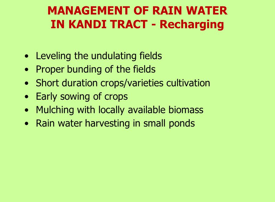 RATIONAL USE SALINE AND SODIC WATER About 42% underground waters are of poor irrigation quality  Soil test based gypsum application  Use technology for use of poor quality water and organic manures  Incorporation of crop residue