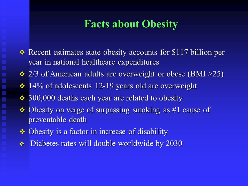 Facts about Obesity  Recent estimates state obesity accounts for $117 billion per year in national healthcare expenditures  2/3 of American adults are overweight or obese (BMI >25)  14% of adolescents 12-19 years old are overweight  300,000 deaths each year are related to obesity  Obesity on verge of surpassing smoking as #1 cause of preventable death  Obesity is a factor in increase of disability  Diabetes rates will double worldwide by 2030