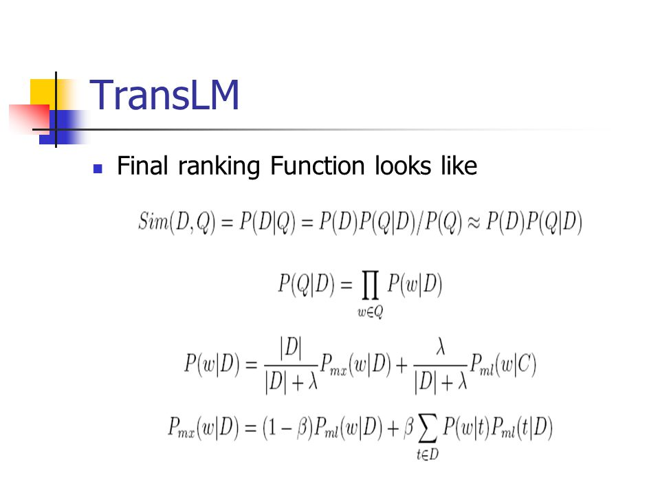 TransLM Final ranking Function looks like