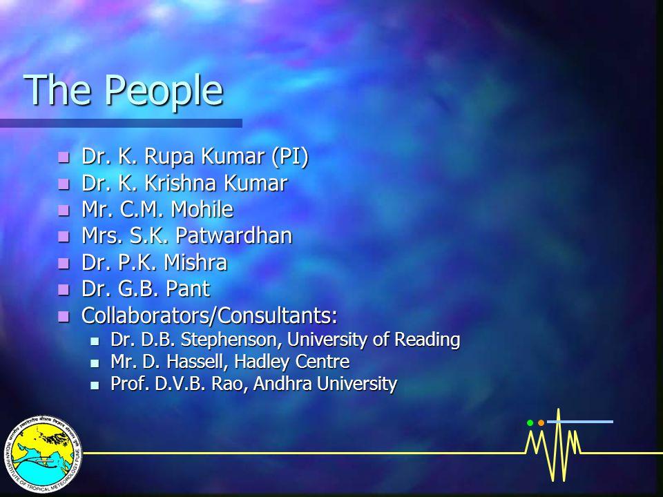 The People Dr. K. Rupa Kumar (PI) Dr. K. Rupa Kumar (PI) Dr. K. Krishna Kumar Dr. K. Krishna Kumar Mr. C.M. Mohile Mr. C.M. Mohile Mrs. S.K. Patwardha