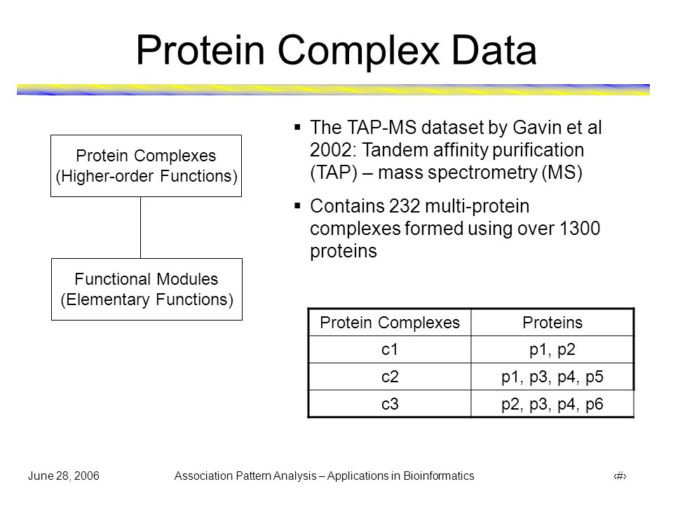 June 28, 2006 Association Pattern Analysis – Applications in Bioinformatics 12 Protein Complex Data Protein Complexes (Higher-order Functions) Functional Modules (Elementary Functions)  The TAP-MS dataset by Gavin et al 2002: Tandem affinity purification (TAP) – mass spectrometry (MS)  Contains 232 multi-protein complexes formed using over 1300 proteins Protein ComplexesProteins c1p1, p2 c2p1, p3, p4, p5 c3p2, p3, p4, p6