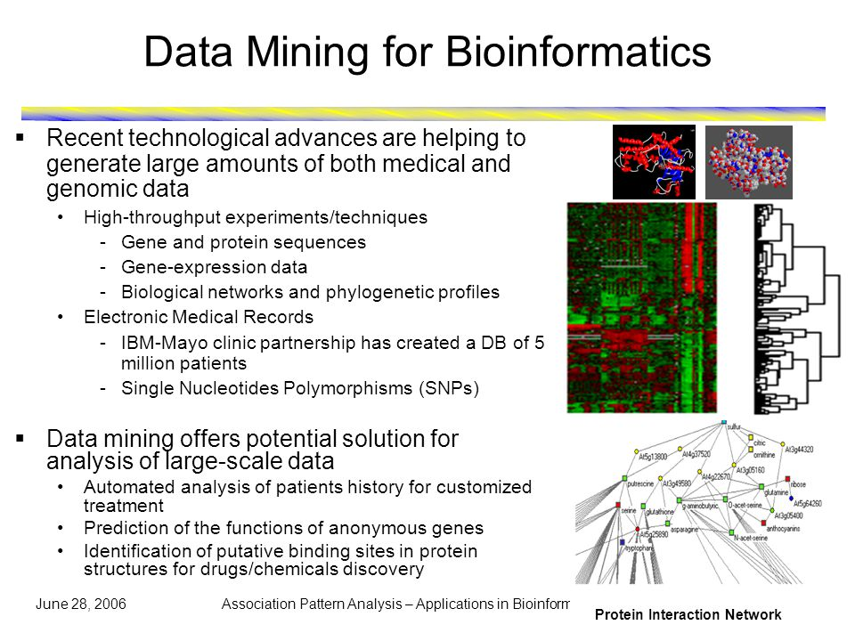 June 28, 2006 Association Pattern Analysis – Applications in Bioinformatics 2 Data Mining for Bioinformatics  Recent technological advances are helping to generate large amounts of both medical and genomic data High-throughput experiments/techniques -Gene and protein sequences -Gene-expression data -Biological networks and phylogenetic profiles Electronic Medical Records -IBM-Mayo clinic partnership has created a DB of 5 million patients -Single Nucleotides Polymorphisms (SNPs)  Data mining offers potential solution for analysis of large-scale data Automated analysis of patients history for customized treatment Prediction of the functions of anonymous genes Identification of putative binding sites in protein structures for drugs/chemicals discovery Protein Interaction Network