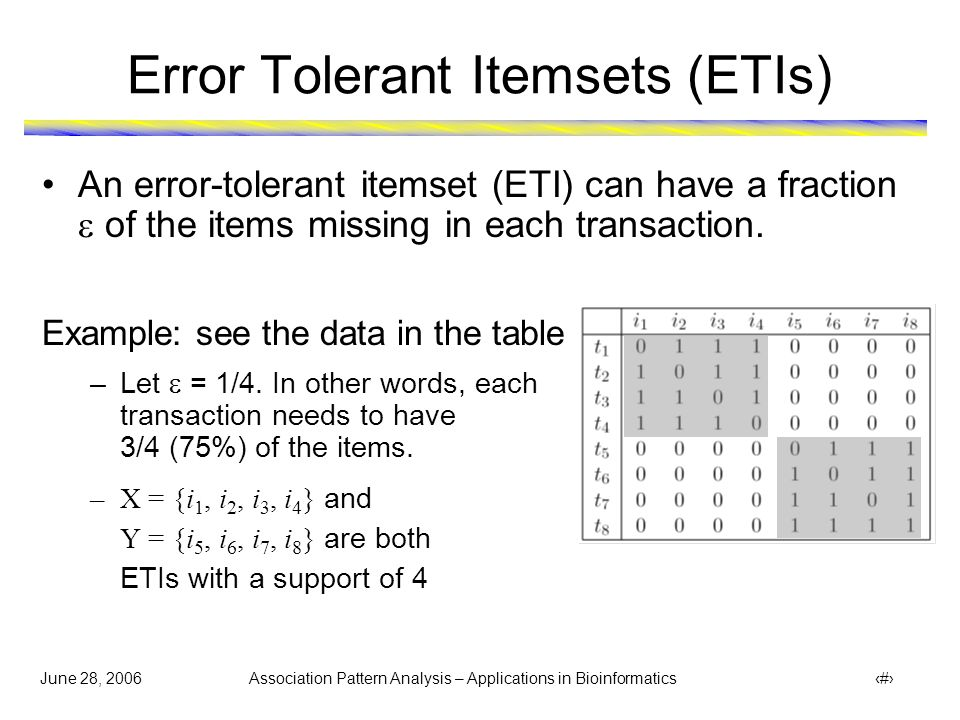 June 28, 2006 Association Pattern Analysis – Applications in Bioinformatics 36 Error Tolerant Itemsets (ETIs) An error-tolerant itemset (ETI) can have a fraction  of the items missing in each transaction.