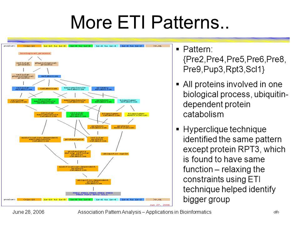 June 28, 2006 Association Pattern Analysis – Applications in Bioinformatics 39 More ETI Patterns..