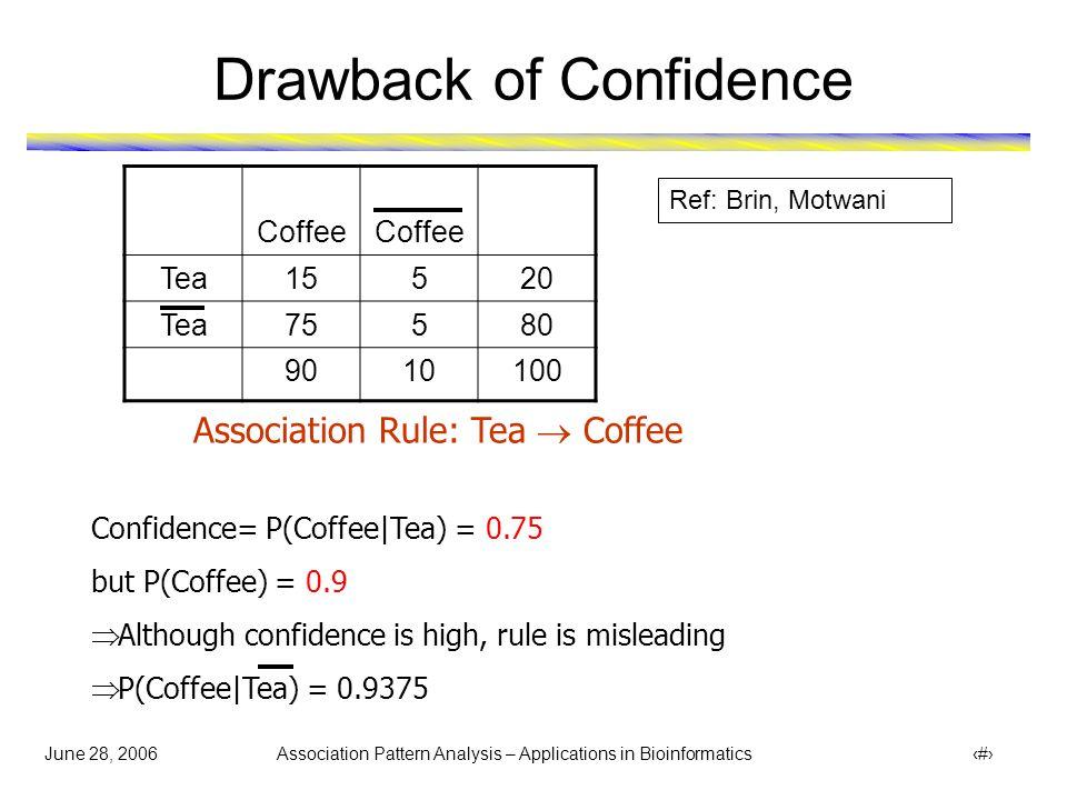 June 28, 2006 Association Pattern Analysis – Applications in Bioinformatics 8 Drawback of Confidence Coffee Tea15520 Tea75580 9010100 Association Rule