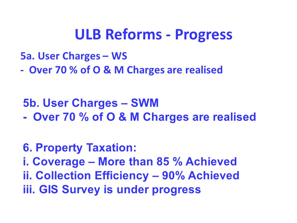 5a. User Charges – WS - Over 70 % of O & M Charges are realised ULB Reforms - Progress 5b.