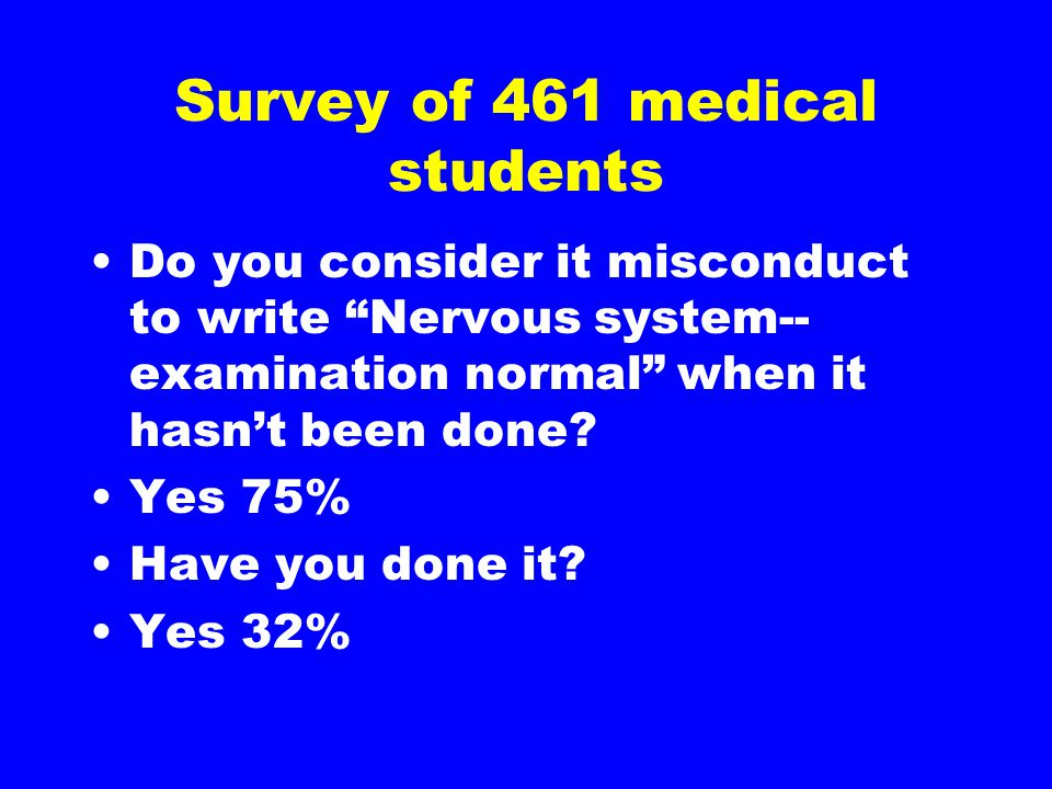 Survey of 461 medical students Do you consider it misconduct to write Nervous system-- examination normal when it hasn't been done.