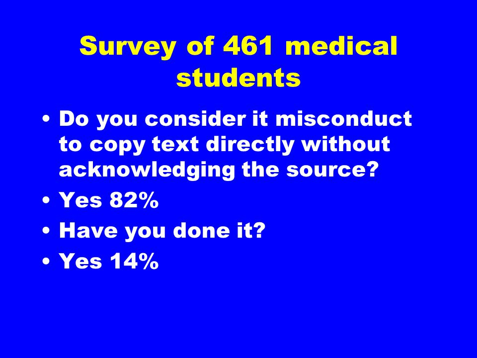Survey of 461 medical students Do you consider it misconduct to copy text directly without acknowledging the source? Yes 82% Have you done it? Yes 14%