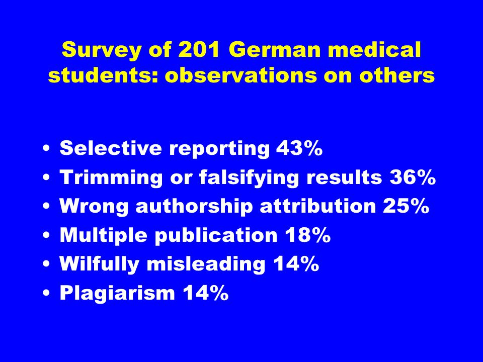 Survey of 201 German medical students: observations on others Selective reporting 43% Trimming or falsifying results 36% Wrong authorship attribution