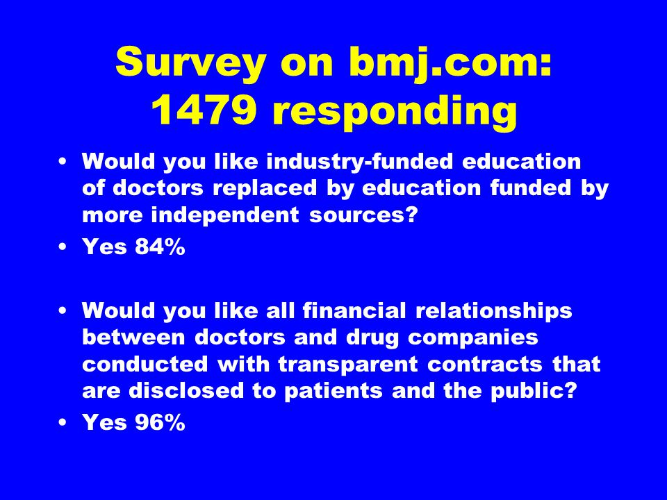 Survey on bmj.com: 1479 responding Would you like industry-funded education of doctors replaced by education funded by more independent sources? Yes 8