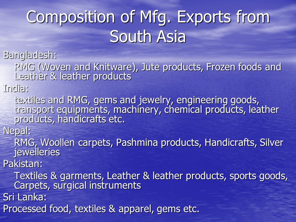 Composition of Mfg.