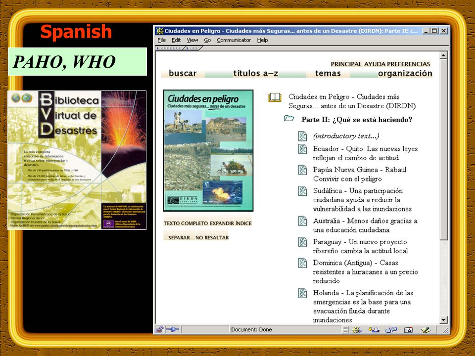 PAHO, WHO Spanish