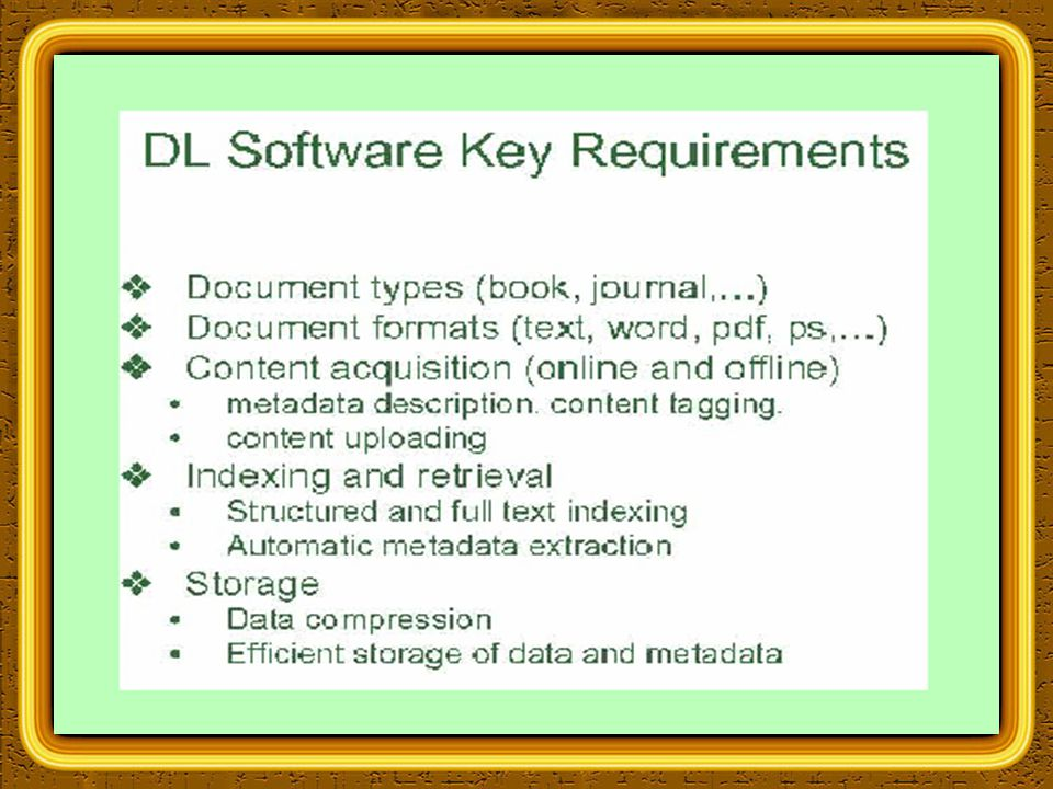 Overview of Greenstone Multimedia documents Collections can contain text, pictures, audio and video.