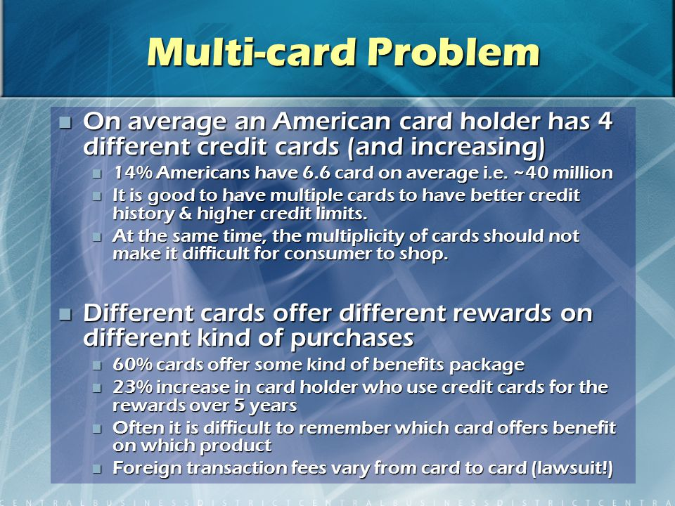 Multi-card Problem On average an American card holder has 4 different credit cards (and increasing) On average an American card holder has 4 different credit cards (and increasing) 14% Americans have 6.6 card on average i.e.