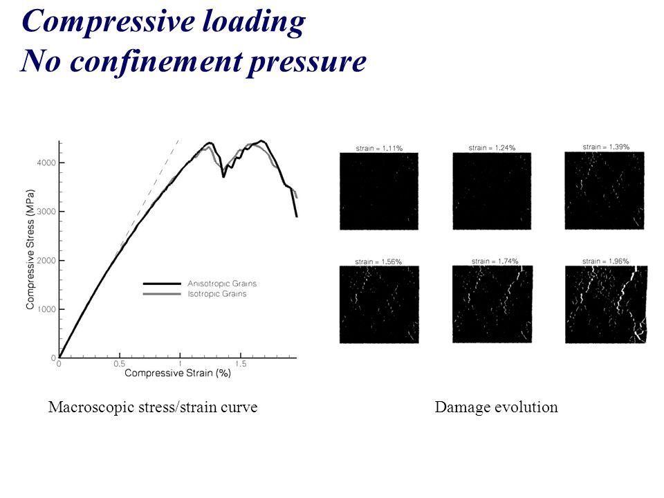 Compressive loading No confinement pressure Macroscopic stress/strain curveDamage evolution