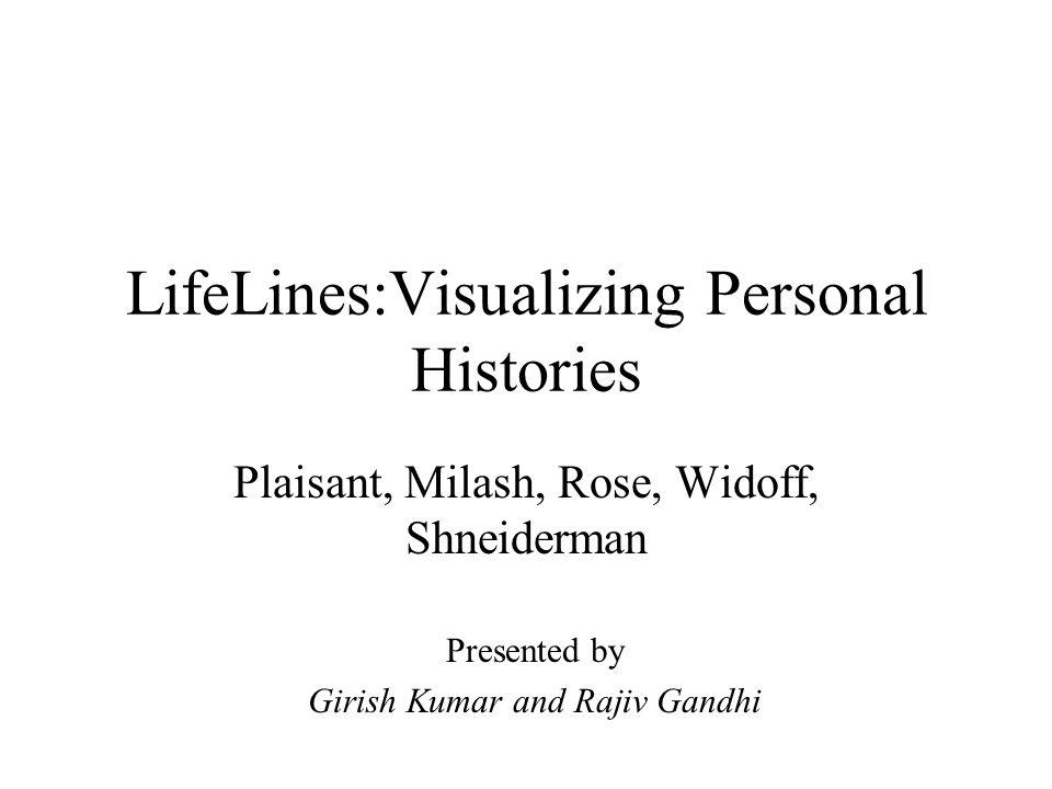 LifeLines:Visualizing Personal Histories Plaisant, Milash, Rose, Widoff, Shneiderman Presented by Girish Kumar and Rajiv Gandhi