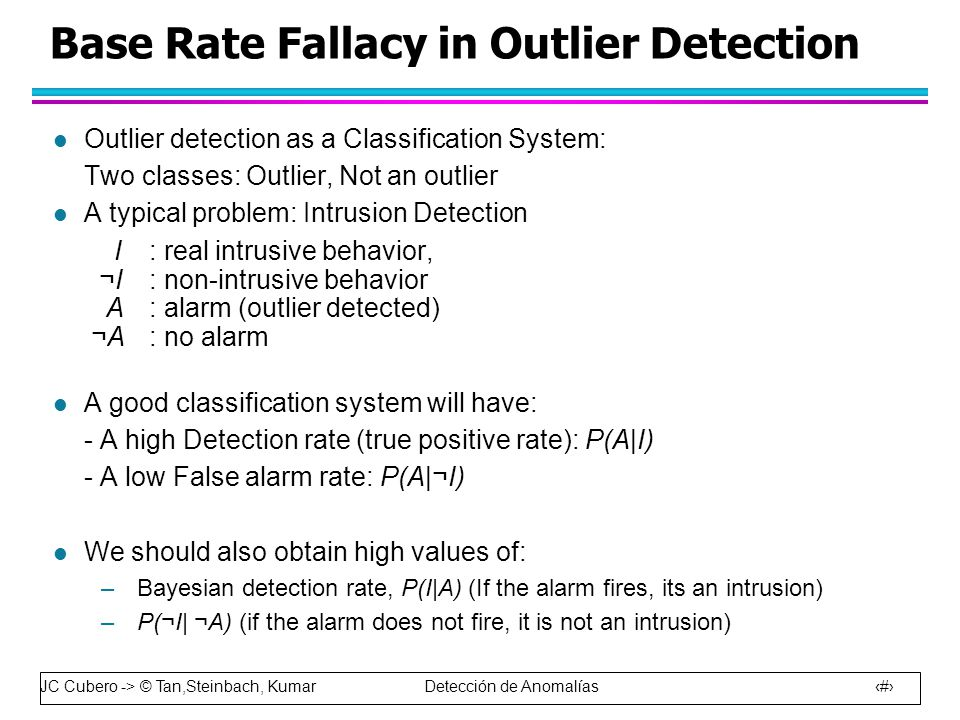 JC Cubero -> © Tan,Steinbach, Kumar Detección de Anomalías 15 Base Rate Fallacy in Outlier Detection l Outlier detection as a Classification System: Two classes: Outlier, Not an outlier l A typical problem: Intrusion Detection I: real intrusive behavior, ¬I: non-intrusive behavior A: alarm (outlier detected) ¬A: no alarm l A good classification system will have: - A high Detection rate (true positive rate): P(A I) - A low False alarm rate: P(A ¬I) l We should also obtain high values of: –Bayesian detection rate, P(I A) (If the alarm fires, its an intrusion) –P(¬I  ¬A) (if the alarm does not fire, it is not an intrusion)