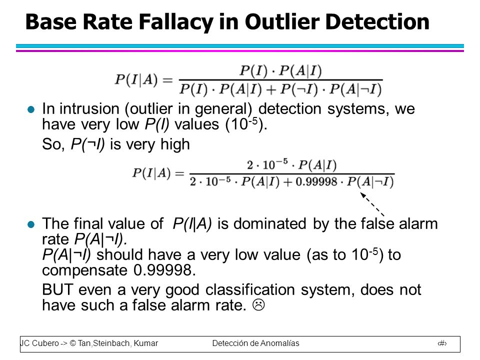 JC Cubero -> © Tan,Steinbach, Kumar Detección de Anomalías 16 l In intrusion (outlier in general) detection systems, we have very low P(I) values (10 -5 ).