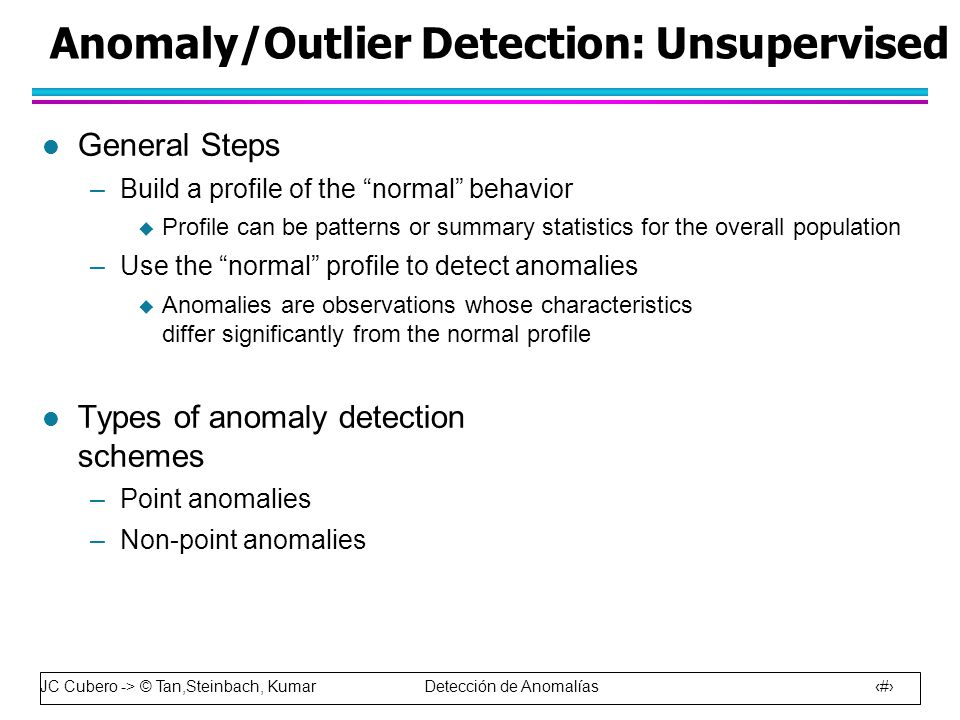 JC Cubero -> © Tan,Steinbach, Kumar Detección de Anomalías 20 Anomaly/Outlier Detection: Unsupervised l General Steps –Build a profile of the normal behavior  Profile can be patterns or summary statistics for the overall population –Use the normal profile to detect anomalies  Anomalies are observations whose characteristics differ significantly from the normal profile l Types of anomaly detection schemes –Point anomalies –Non-point anomalies