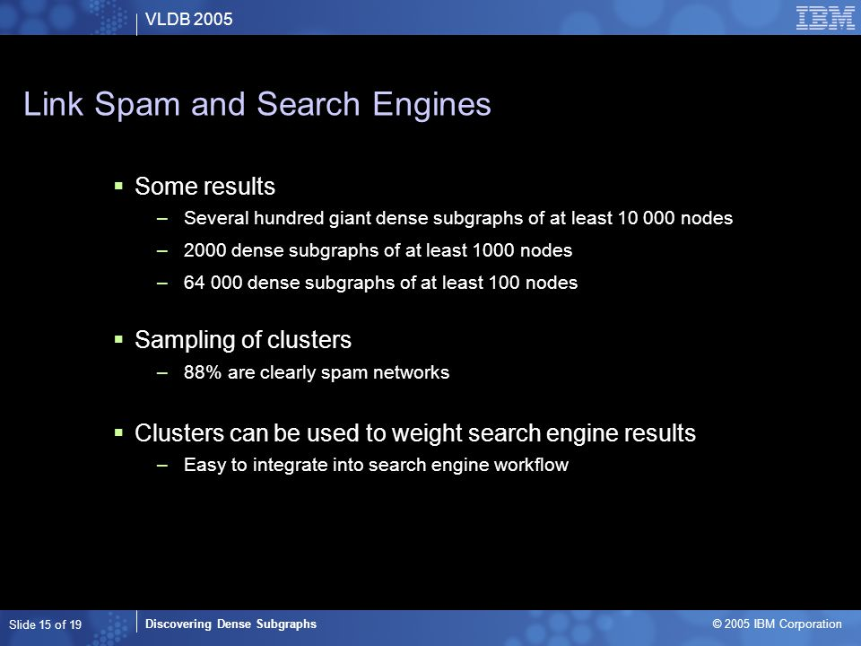 VLDB 2005 Discovering Dense Subgraphs © 2005 IBM Corporation Slide 15 of 19 Link Spam and Search Engines  Some results –Several hundred giant dense subgraphs of at least 10 000 nodes –2000 dense subgraphs of at least 1000 nodes –64 000 dense subgraphs of at least 100 nodes  Sampling of clusters –88% are clearly spam networks  Clusters can be used to weight search engine results –Easy to integrate into search engine workflow