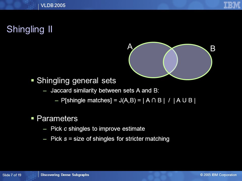 VLDB 2005 Discovering Dense Subgraphs © 2005 IBM Corporation Slide 7 of 19 Shingling II  Shingling general sets –Jaccard similarity between sets A and B: –P[shingle matches] = J(A,B) = | A ∩ B | / | A U B |  Parameters –Pick c shingles to improve estimate –Pick s = size of shingles for stricter matching A B