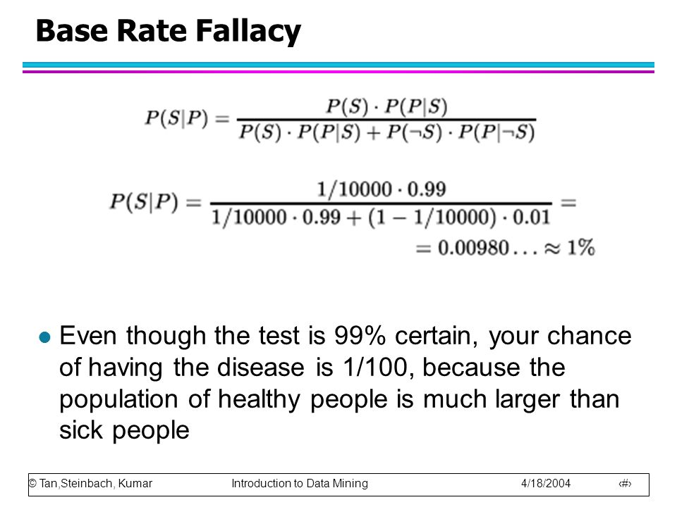 © Tan,Steinbach, Kumar Introduction to Data Mining 4/18/2004 22 Base Rate Fallacy l Even though the test is 99% certain, your chance of having the disease is 1/100, because the population of healthy people is much larger than sick people