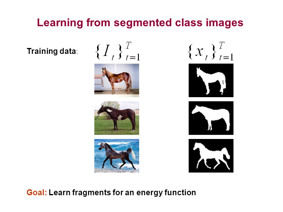 Learning from segmented class images Training data : Goal: Learn fragments for an energy function