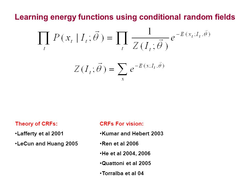 Learning energy functions using conditional random fields Theory of CRFs: Lafferty et al 2001 LeCun and Huang 2005 CRFs For vision: Kumar and Hebert 2