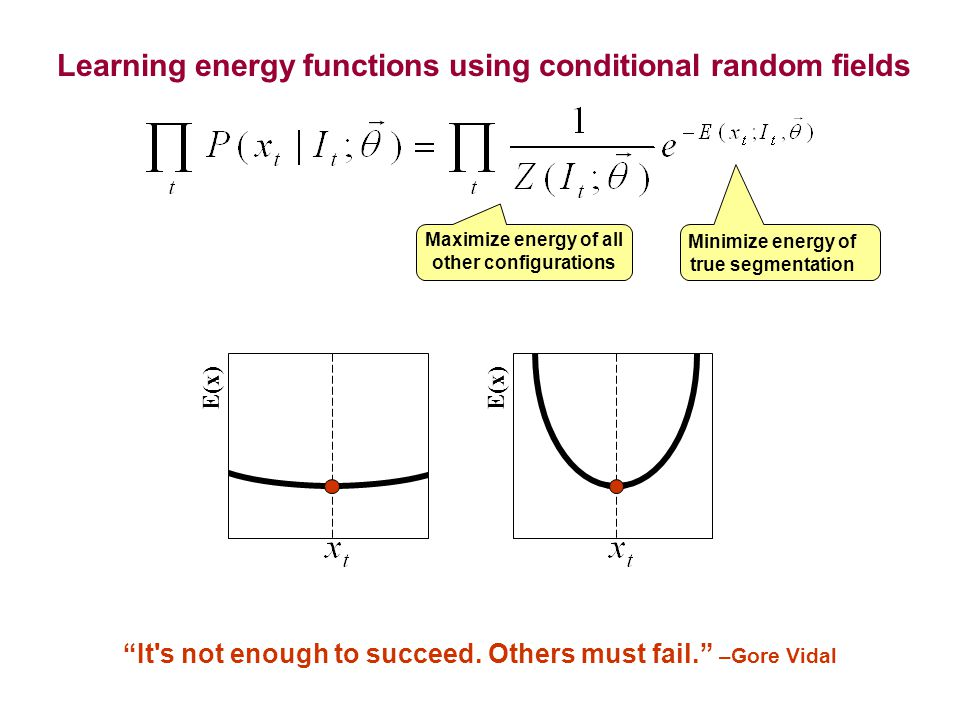 "E(x) Minimize energy of true segmentation Maximize energy of all other configurations Learning energy functions using conditional random fields ""It's"