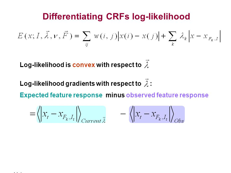 Differentiating CRFs log-likelihood Log-likelihood gradients with respect to : Expected feature response minus observed feature response Log-likelihoo
