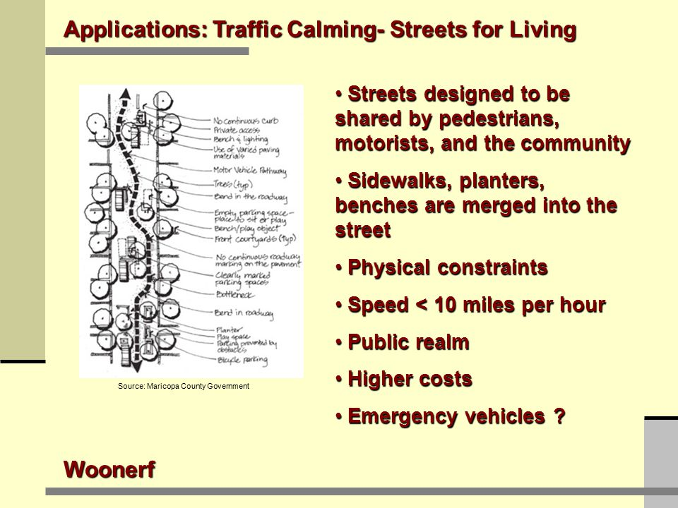 Applications: Traffic Calming- Streets for Living Woonerf Streets designed to be shared by pedestrians, motorists, and the community Streets designed